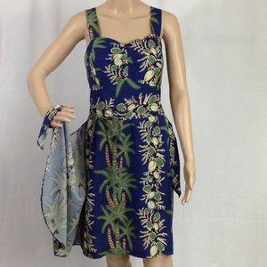 1950s  Hawaiian Sarong Dress Large
